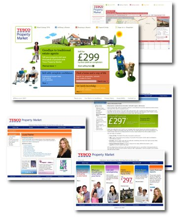 Collage of screenshots taken from the Tesco Property Market website